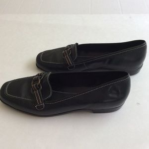Andiamo Black Leather Flats Loafers Womens Size 9